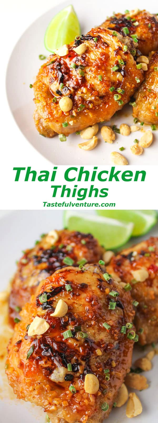 Thai Chicken Thighs that are super easy to make and finger lickin' good! | Tastefulventure.com