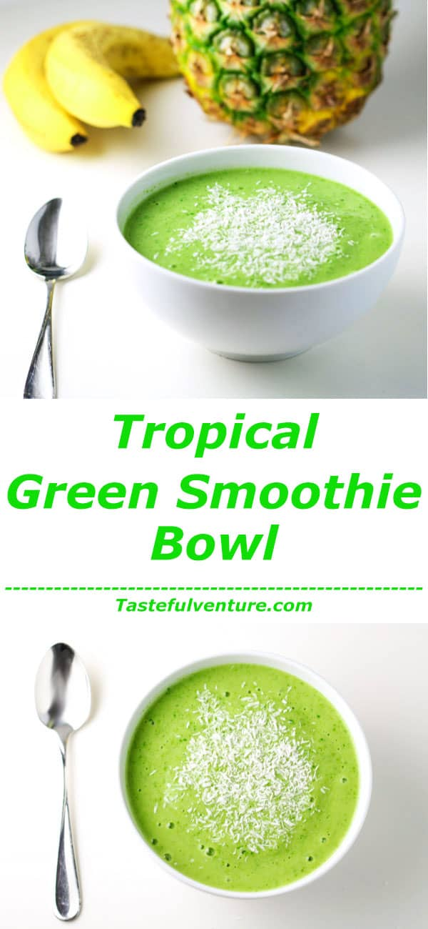 This Tropical Green Smoothie Bowl tastes so delicious, you'll never know it's Healthy for you! We made this Dairy Free using Coconut Milk! | Tastefulventure.com