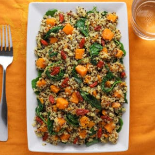 Warm Quinoa Sweet Potato Kale Salad with Goji Berries