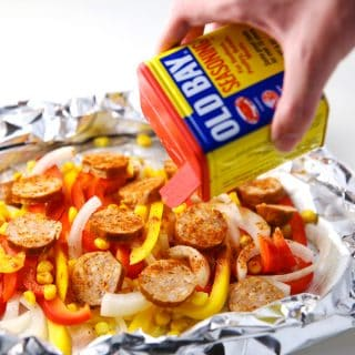 Cajun Sausage and Peppers Foil Packets