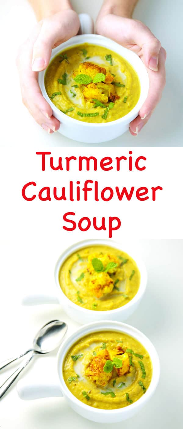 #ad This Turmeric Cauliflower Soup is so creamy and delicious! This is Dairy Free, Gluten Free, and Vegan. | Tastefulventure.com made in partnership with @Walmart and @lovemysilk #SameSilkySmoothTaste