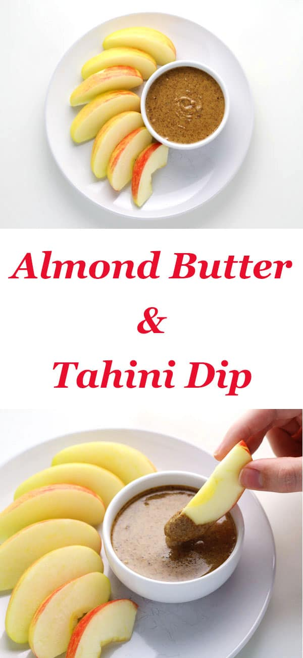 Almond Butter and Tahini Snack Dip ~ This is such and easy peasy dip to make and is the perfect healthy snack!