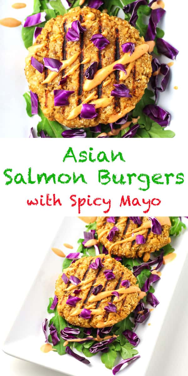 Asian Salmon Burgers with Spicy Mayo - Made in less than 10 minutes, these burgers are full of flavor, low carb, and gluten free!