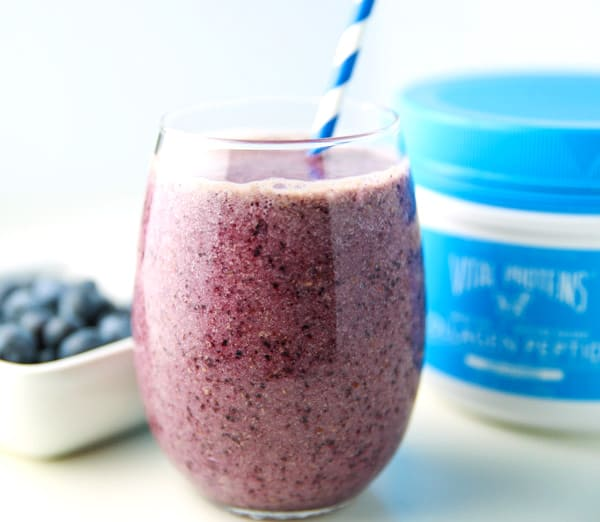 This Blueberry Collagen Smoothie will give you Glowing Skin! So healthy, delicious, and dairy free!