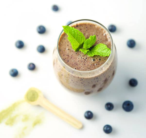 This Blueberry Matcha Mint Smoothie will give you amazing energy! Plus it's Dairy Free!
