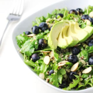 Blueberry Quinoa Arugula Salad with Honey Lemon Vinaigrette