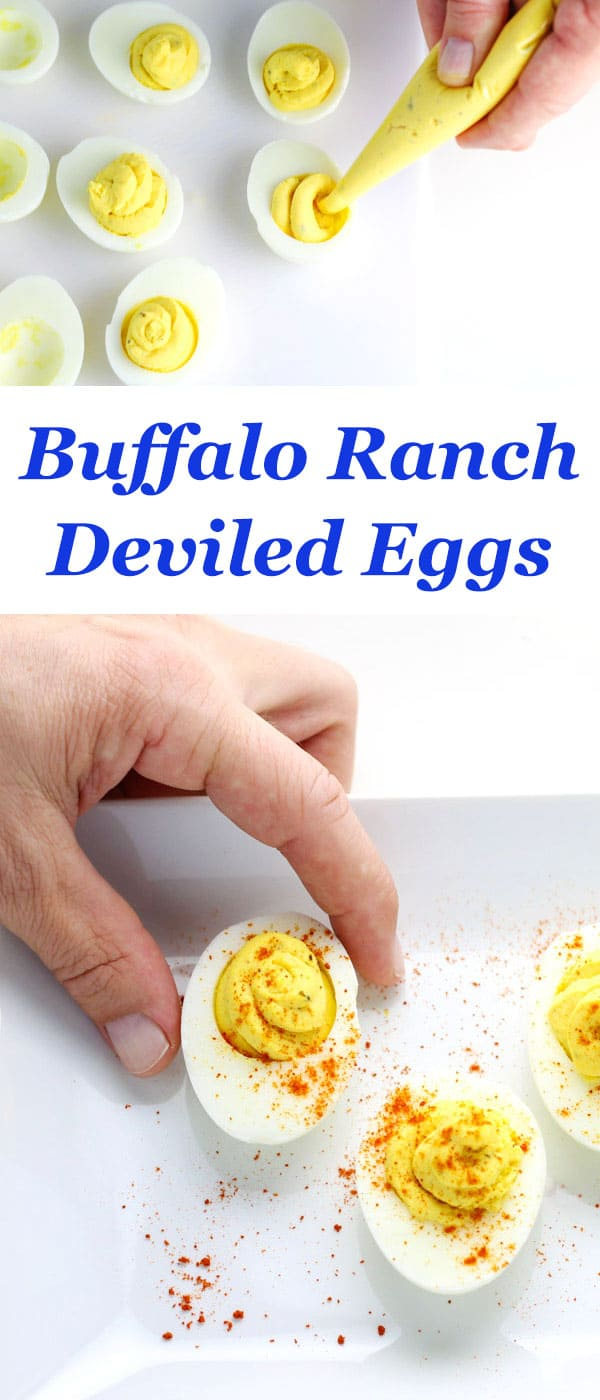Buffalo Ranch Deviled Eggs ~ These are the first to go at every party I bring them to!