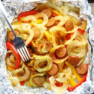 Cajun Spiralized Potatoes and Sausage Foil Packets