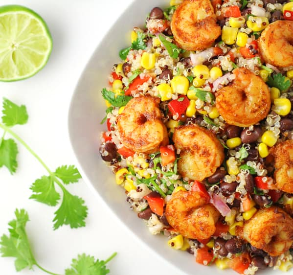 This Caribbean Shrimp Quinoa Salad is bursting with so much flavor! This is healthy, light, and Gluten Free!