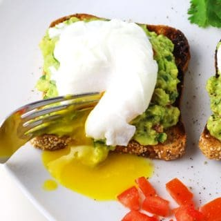 Cilantro Tomato Avocado Smash With Poached Eggs