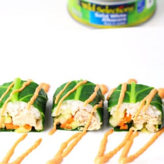 Collard Green Sushi Rolls With Spicy Tuna