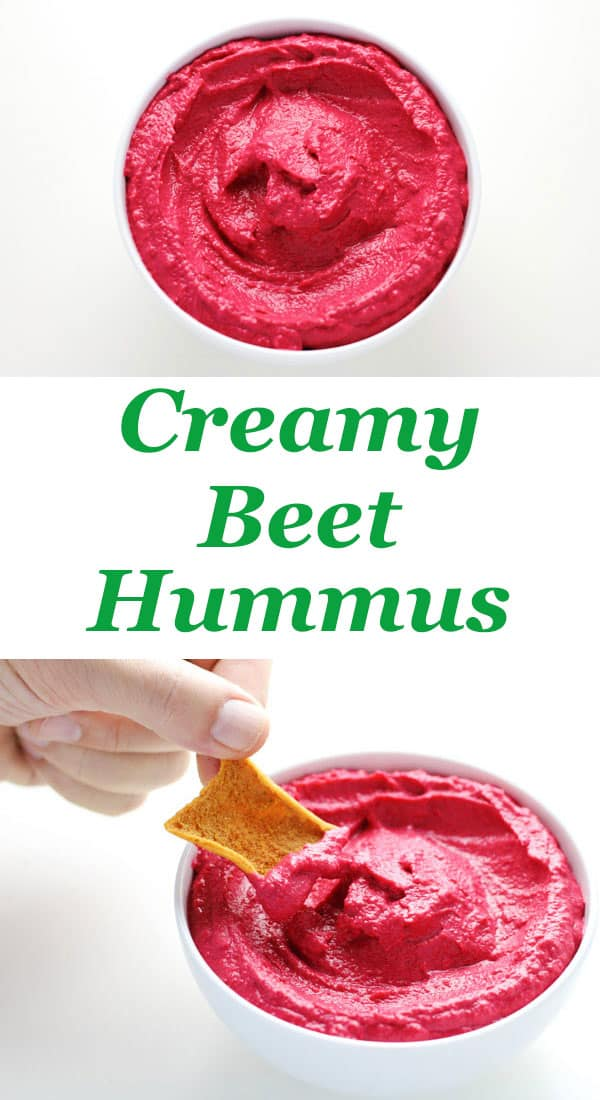 Creamy Beet Hummus made with simple fresh ingredients and has such an amazing flavor! This is a crowd favorite at our house! | Tastefulventure.com