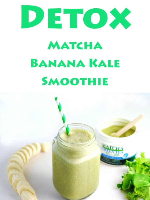 Detox Matcha Banana Kale Smoothie, We made this Dairy Free with Coconut Milk, Matcha Green Tea Powder, Banana, Kale, and Honey. | Tastefulventure.com