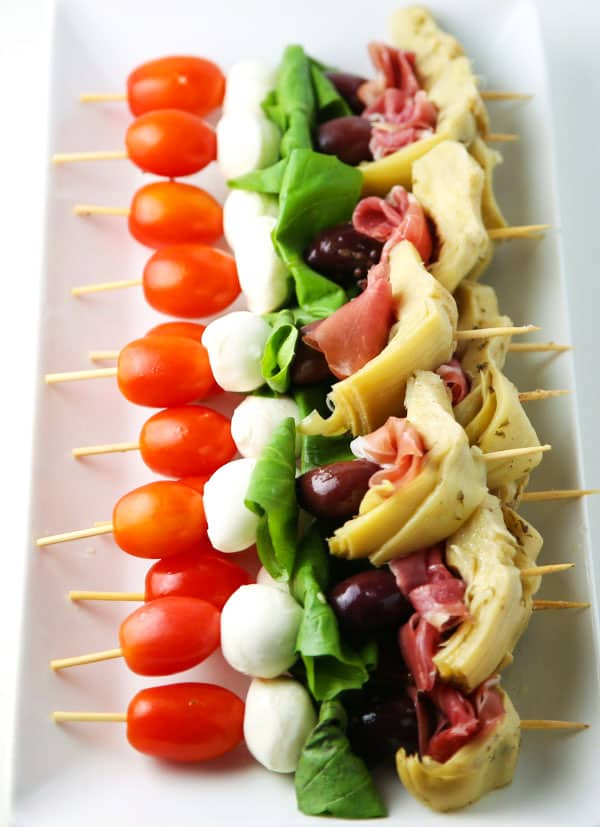 These Easy Antipasto Skewers can be put together at the last minute and are perfect for any party!