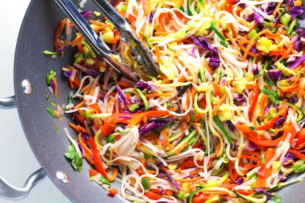 Easy Vegetarian Pad Thai that can be made in less than 30 minutes (including prep), and is way better than take-out!