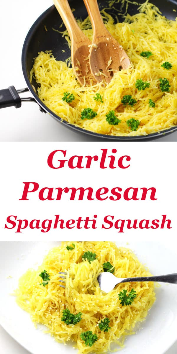 This Garlic Parmesan Spaghetti Squash is super easy to make and tastes so delicious! This is a great Gluten Free alternative to regular noodles.