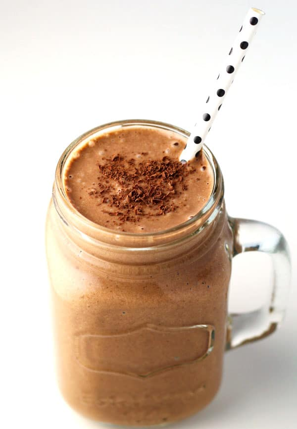 Healthy Chocolate Peanut Butter Smoothie made with Vanilla Almond Milk, Cacao Powder, Peanut Butter, and Bananas. This is so delicious and is perfect for whenever you want a healthy treat!