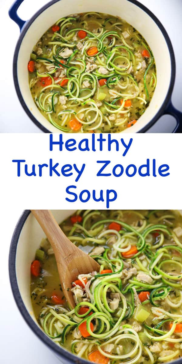 This Healthy Turkey Zoodle Soup can be made in less than 20 minutes and is so flavorful! We used Zucchini to replace the noodles with for a Low Carb/Gluten Free soup!
