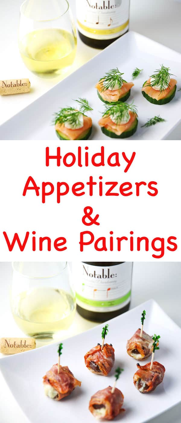 Msg 4 21 + Holiday Appetizers and Wine Pairings - Cucumber Dill Smoked Salmon Bites and Prosciutto Wrapped Figs paired with Notable Chardonnay is the perfect pairing! #ad #Chardonnation #NotableHoliday
