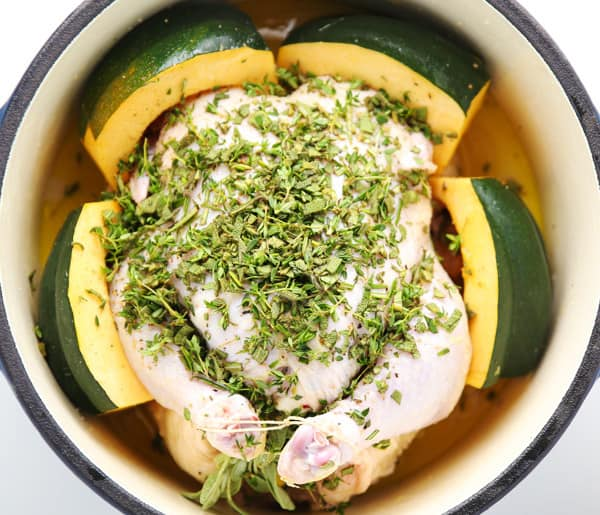 This Lemon-Herb Roasted Chicken With Acorn Squash is so tender, juicy, and full of flavor!