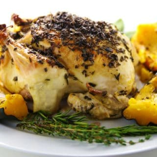 Lemon-Herb Roasted Chicken With Acorn Squash