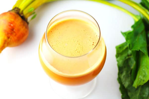 Liver Cleansing Golden Beet Juice made with fresh Beets, Carrots, Apples, and Ginger. This is such a great Detoxing Juice!