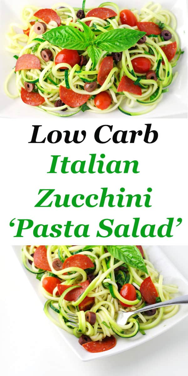 This Low Carb Italian Zucchini Pasta Salad is so delicious! This is the perfect gluten free way to enjoy a 'pasta' salad!
