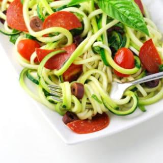 Low Carb Italian Zucchini Pasta Salad