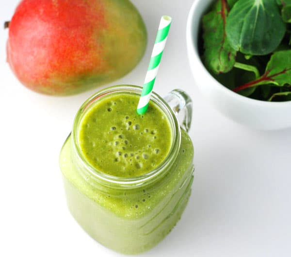Mango Banana Green Smoothie (Dairy Free), made with 4 simple ingredients. This power smoothie will leave you energized!