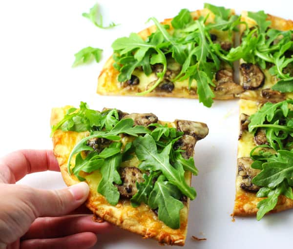 Mushroom and Arugula Pizza (Gluten Free) - This is such a simple and healthy pizza to make on a busy night!