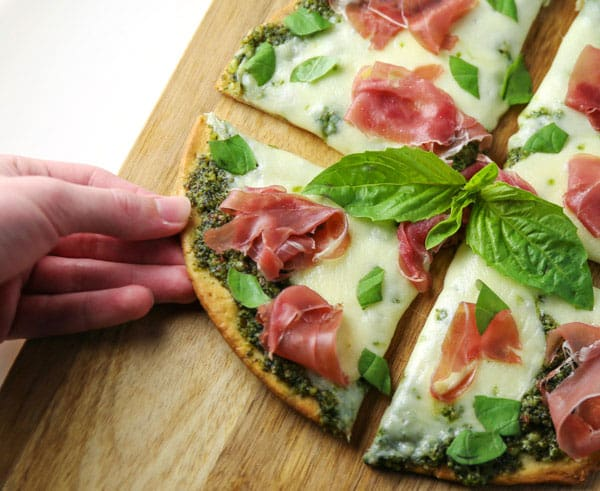 This Prosciutto Basil Buffalo Mozzarella Pizza (Gluten Free) is super easy to make and so full of flavor! This will be your new favorite Pizza!