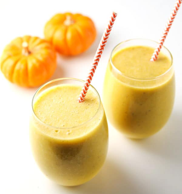 This Pumpkin Chai Protein Smoothie is so velvety, creamy, and delicious! It almost tastes like a dessert! (Dairy Free)