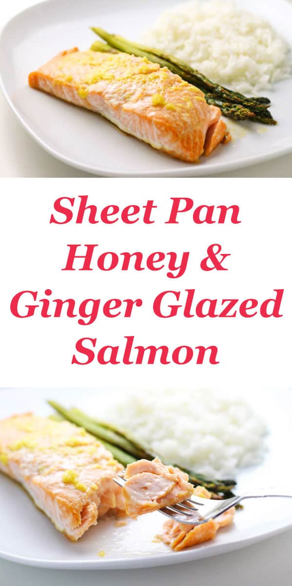 Easy Sheet Pan Honey and Ginger Glazed Salmon that can be made in about 20 minutes and is so delicious! | Tastefulventure.com