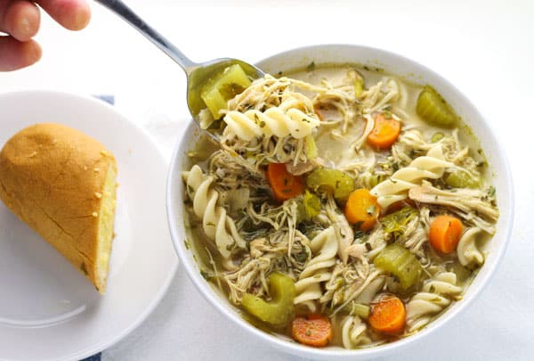 Slow Cooker Chicken Noodle Soup (Gluten Free), so healthy and full of flavor! | Tastefulventure.com