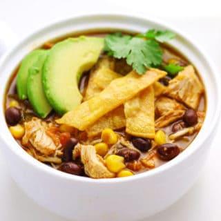 Slow Cooker Chicken Tortilla Soup (Gluten Free)