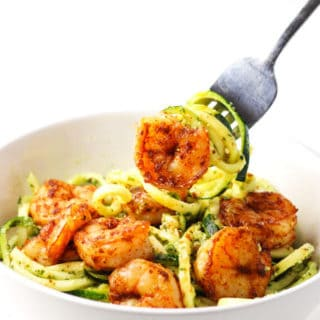Spicy Shrimp With Basil Lime Pesto Zoodles