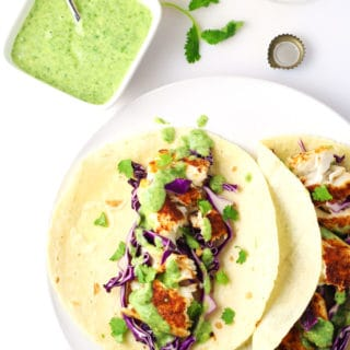 Tilapia Fish Tacos with Avocado Cilantro Sauce