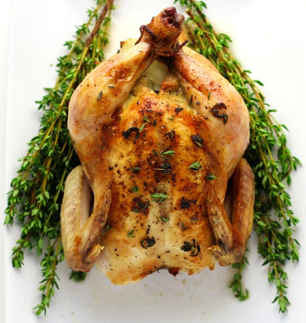 White Wine And Thyme Roasted Cornish Game Hens, so tender, juicy, and full of flavor. These are perfect for smaller holiday gatherings! | Tastefulventure.com