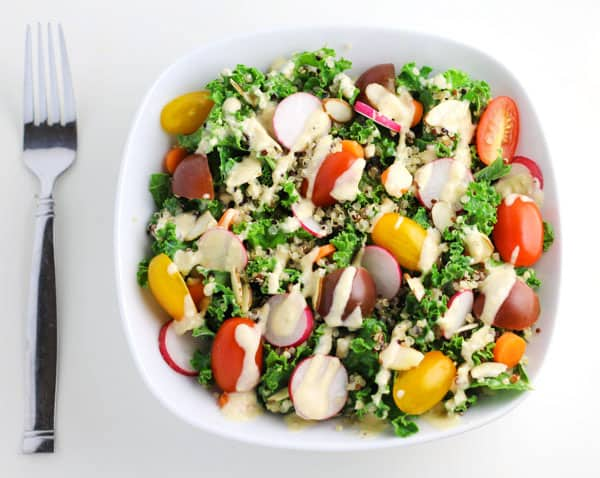 This Winter Kale Quinoa Salad with Lemon Tahini Dressing is so hearty and healthy!