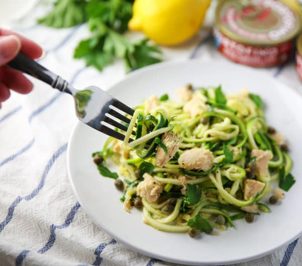 Spiralized Zucchini with Tuna Lemon Parsley and Capers