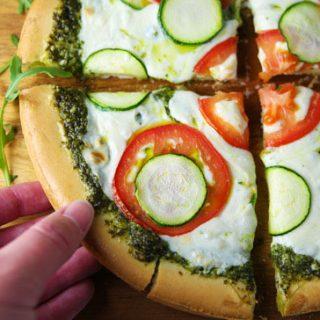 Arugula Pesto Pizza with Tomato and Zucchini