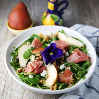 Arugula Prosciutto Pear Salad with Gorgonzola and Walnuts