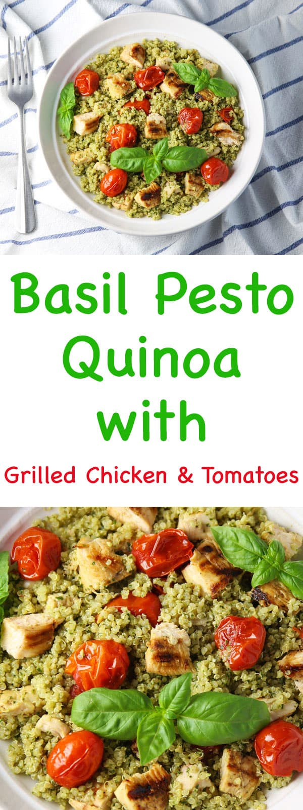 This Basil Pesto Quinoa with Grilled Chicken and Tomatoes is easy to make, healthy, and full of flavor! You can serve this warm or cold, so it's perfect for any time of year!