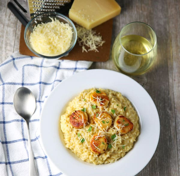 These Brown Butter Scallops with Parmesan Risotto dish are so luscious, creamy, and totally satisfying! Perfect for a date night at home!