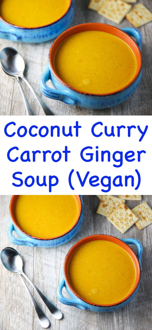 This Coconut Curry Carrot Ginger Soup is super easy to make and is loaded with flavor! Plus it's Vegan and Gluten Free!