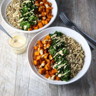 Healing Turmeric Sweet Potato Kale Quinoa Bowls