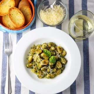 Pan Fried Gnocchi with Basil Pesto