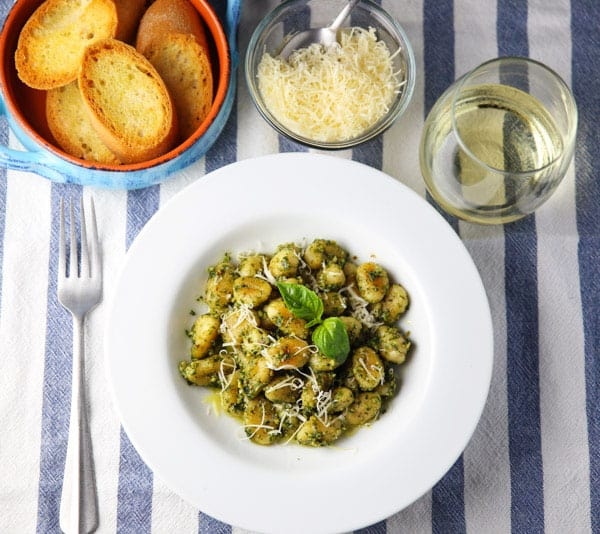 This Pan Fried Gnocchi with Basil Pesto comes together in less than 10 minutes and is so delicious! Perfect for those busy weeknights!