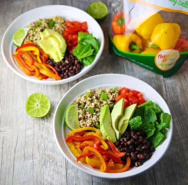 #ad These Quinoa Fajita Bowls come together in less than 30 minutes and are loaded with flavor! This is a great #Vegetarian #GlutenFree option for Mexican night! #FollowTheFresh #IC
