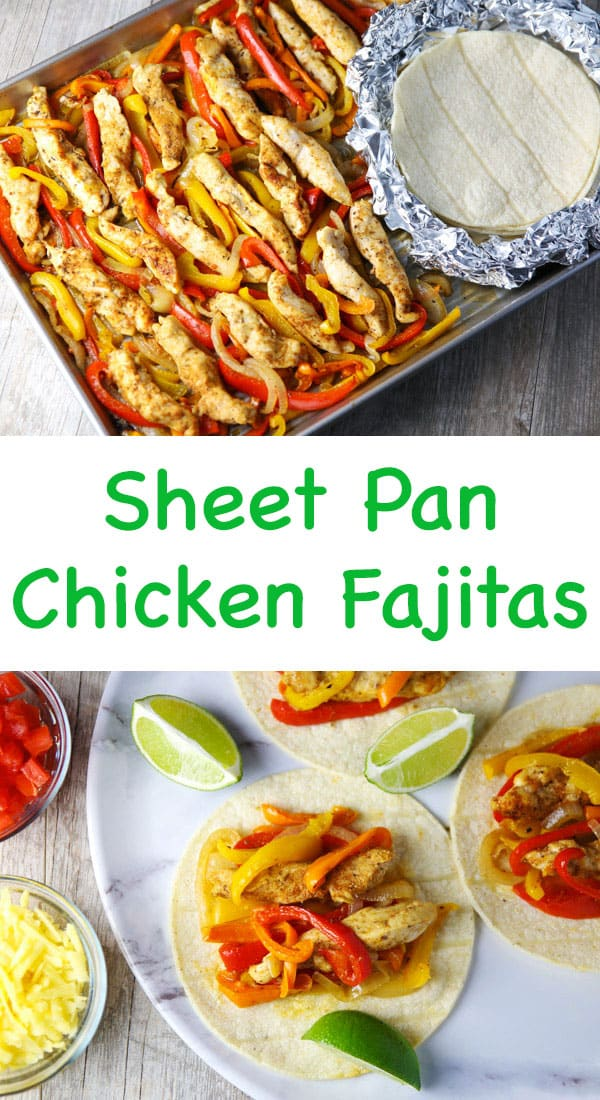 These Sheet Pan Chicken Fajitas are perfect for those busy weeknights! Just add everything to a Sheet Pan and Bake!